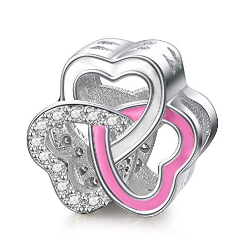 Damen Silber Charms Love Hearts Bead Charm für Pandora Armband Halskette