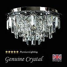 MiniSun – Moderno plafón para el techo, con gotas de cristal auténtico de efecto diamante y 5 focos – estilo lámpara araña