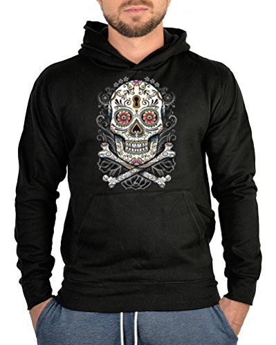 (Kapuzensweater Pullover Horror Flower Skull Rock Halloween Totenkopf Pulli harte Kerle Hoody Sweater Kapuzen Sweater)