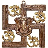 Aadit Crreation Wall Hanging Of Lord Ganesha On Swastik With Om Showpiece - 21.5 Cm (Original And Authentic)