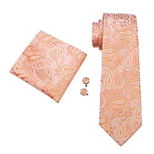 mens-formal-100-silk-neck-tie-pocket-square-cufflink-set-wedding-peach-orange