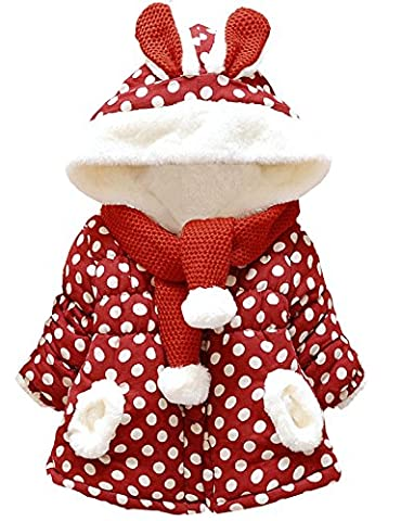 COCM10 Baby Girls Infant Polka Dots Cute Hoodies Jackets Coats Snowsuit Outerwear