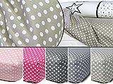 fest gewebtes Spannbetttuch für Kinder - kindgerechtes Design mit Punkten im Alloverdesign - erhältlich in 4 Farben kombiniert mit Weiß und in 3 Größen - ideal geeignet für Standard-