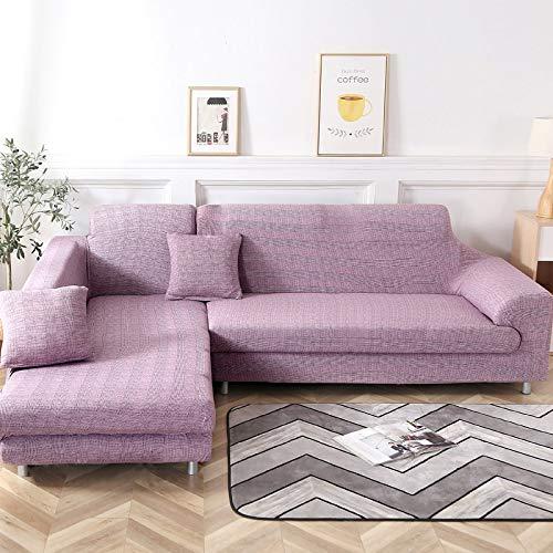 Jian Ya NA L-Form-Stretch Sofabezüge Polyester Spandex Stoff Slipcover 2ST Polyester-Gewebe Stretch Slipcovers + 2pcs Kissenbezüge für modernes Schnittsofa (Style 2)