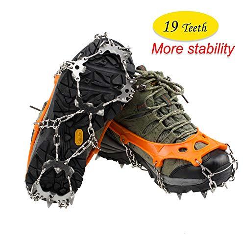 OUTEC Steigeisen 19 Zähne Walk Traction Cleats Ice Snow Grips Anti Slip Edelstahl Spikes für Stiefel Schuhe, Größe 36-43 -