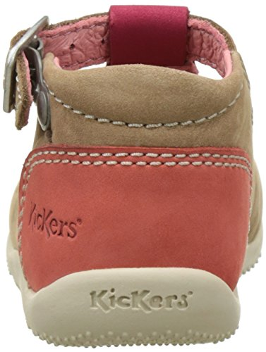Kickers Baby Mädchen Bonbek Krabbelschuhe Beige (Beige Fuchsia Orange)