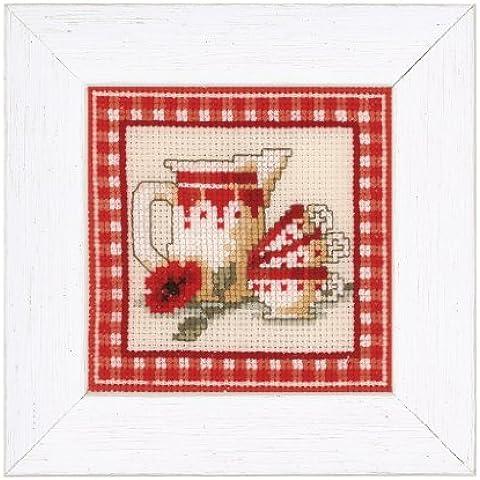 Vervaco rosso Brocca con tazze contati Punto Croce Kit, multi-colore - Contati Punto Croce Tessuto