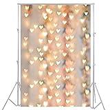 3x5ft Blurring Lichter Bokeh Hintergrund der Herzen Neugeborene Fotografie Hintergrund YJ-134