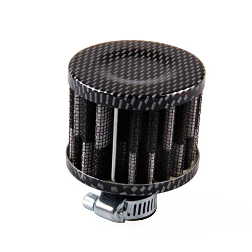 X-DAAO 12 mm Luftfilter für Motorrad, Turbo-Entlüfter Electroplate Black and White
