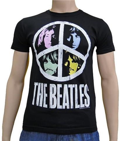 The Beatles–Vintage Peace Logo T-shirt S à XXL Noir noir s
