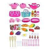 LouiseEvel215 54 Pcs Creative Simuler Cuisine Trancher Jouet Ensemble Fruits Légumes Cuisine Jouet Cuisine Ustensiles De Cuisine Rôle Imaginer Jouet pour Enfants