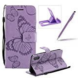Mädchen Schönen Schmetterlings Blumen Geprägte PU Leder Tasche Hülle Case für iPhone X, Herzzer Hochwertig Handyhülle Flip Wallet Cover Weiche Innere Silikon Bumper Bookcase mit Magnet Kartenfächer Schutzhülle für iPhone X - Lila