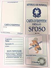 Idea Regalo - BIGLIETTO CARTA IDENTITA' SPOSO ADDIO AL CELIBATO Gadget stampato idea regalo matrimonio
