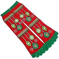 FHCGWZ 5 unids/Set Hombres Mujeres Calcetines Divertidos Búho Muñeco de Nieve Impreso Cinco Dedos del Dedo del Dedo Calcetines de la Novedad Calce