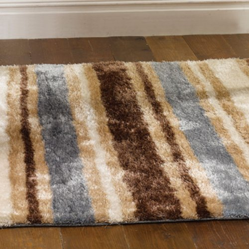 Flair Rugs Ecuador Quito Striped Shaggy Rug, Duck Egg, 120 x 170 Cm