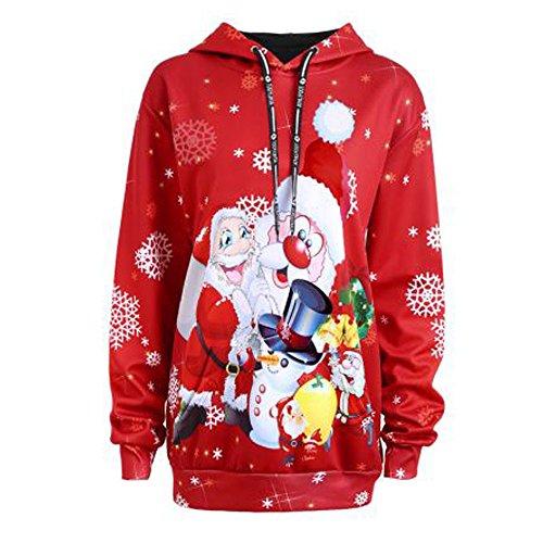 FRAUIT Damen Sweatshirt Langarm-Kapuzenpulli Pullover Warme Strickjacke Reißverschluss Jacke Sweatshirt Mantel Jacken Frauen Christmas Santa Claus Snowman Hoodies Tops