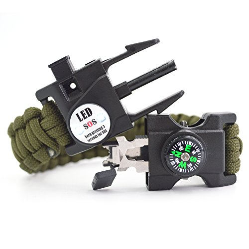 Auchee LED SOS Emergency Paracord Bracelet |The ULTIMATE 15 in 1 Tactical Survival Gear| Perfect for Cycling Hiking Camping Fishing Hunting (Army Green, Cobra 9inch)