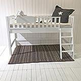 halbhohes Cama Litera Jona, cuna, cama de cucheta de los cabritos,minihochbett,madera blanco,Convertible,altura 125cm, somier INCLUIDO 90x200cm