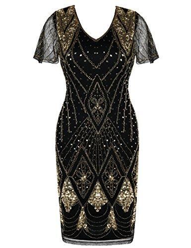 Kayamiya Great Gatsby Kleid der 1920er Jahre Pailletten Perlen inspiriert Cocktail Flapper Kleid S Gold (Perlen Kleid 1920er Jahre Der)