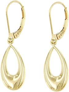 Lucchetta Gioielli d'Oro per Donna - Orecchini Goccia in Oro Giallo 14 carati con monachella - Made in Italy Certificato, BR6669-MN
