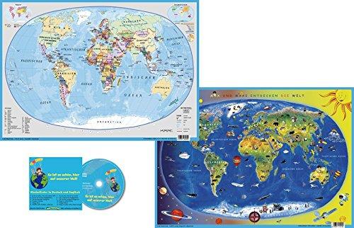 Erde politisch / Kinderweltkarte: DUO-Schreibunterlage klein mit Musik-CD