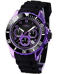 Time100 Fashion Multifunction Environmental Silicone Strap Purple Orange Blue&Black Sport Watch #W70045G