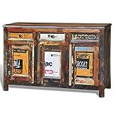 vidaXL Teak Massivholz Antik Kommode Sideboard TV Hoch Schrank Vintage 3 Türen