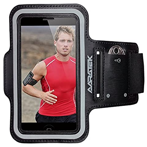 AARATEK Pro Sport Armband for iPhone SE, 5, 5s, 5c, 4, 4s, iPods... (Black) - Rated #1 - Best for running, workouts, cycling, fitness, or any activity outside or in the gym!