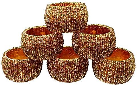 Serviettenhalter Ringe Set 6 Vintage Glasperlen 2 Ton Braun Gold Ringe handgefertigte Party Dekor - 6,4