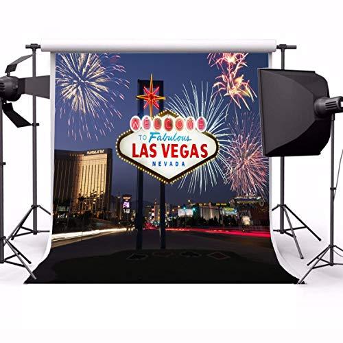 EdCott 10 x 10 ft Fotografie Willkommen fabelhaften Las Vegas Nevada Feuerwerk beleuchtete Zeichen Stadt Nacht Ansicht Landschaft Reisen Hochzeit Urlaub Party Dekorationen