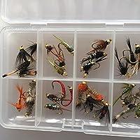 Angeln Fliegen Nymphe Bead Kopf Auswahl 32Fliegen für Forellen Angeln mit freien Clip Shut Fly Box Pack # 341,
