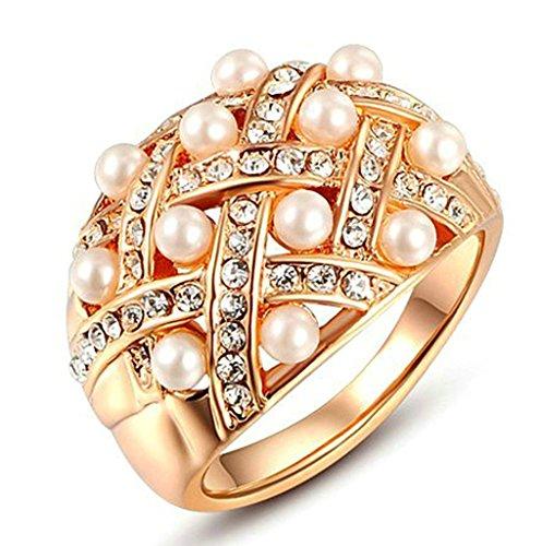 Gnzoe Gioielli, Placcato Oro Rosa Vintage Pearl Cubic Zirconia Matrimonio Matrimonio Anelli per Donna