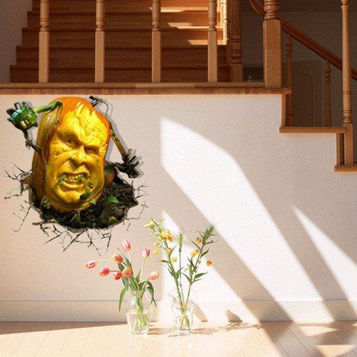 erWandsticker Kreativ 3D (Kürbis Monster) Wandsticker Tapeten Schlafzimmer Wohnzimmer TV Sofa Hintergründe HD Aufkleber Aufkleber (58 * 59.6) (Paw Patrol-kürbis)