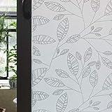 XIXIK Sichtschutzfolie Fenster Blatt Muster Fensterfolie Tür Filme Sichtschutz Folie nicht klebend Fenster Deko Glas Filme für Home Küche Büro 90 x 200 cm