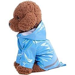 Sannysis mascotas ropa impermeable gabardina con capucha para perros (Azul, M)