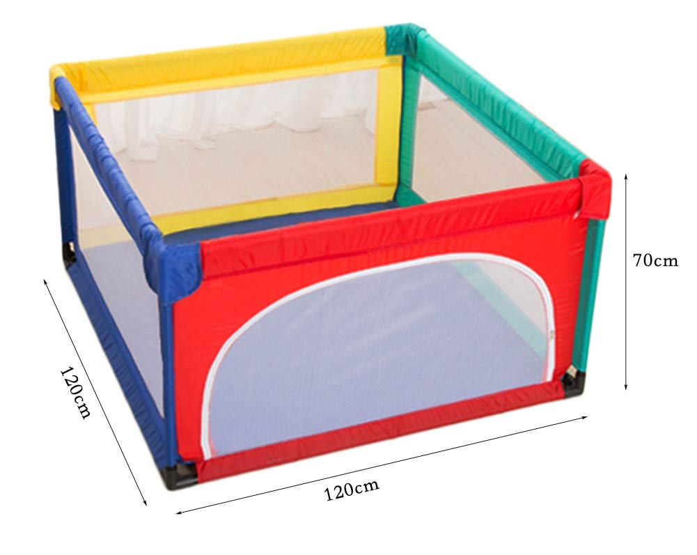 YYHSND Baby Playpen Kids Activity Center Indoor Outdoor Safety Playard Home Fence, 70cm High Child protection (color : 120×120×70cm)  The child safety fence is designed to be easily placed anywhere in the home. At any time, you need it to be installed quickly and create a separate game space for your baby. Luxurious, durable, non-toxic, healthy and environmentally friendly material, beautifully sleek product surface, soft and fashionable baby's favorite design, waterproof and easy to clean product features, child protection fence, is the best gift for your child. ✅Material: Resistant-duty oxford material & removable airy mesh, sponge wrap, Intimate care, Direct sales by manufacturers. 2