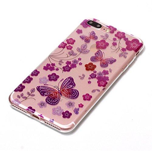 Per iPhone 7 Plus Cover , YIGA Moda Campanula piuma Cristallo Trasparente Silicone Morbido TPU Case Caso Shell Protezione Copertura Custodia Copertina per Apple iPhone 7 Plus (5.5) XS60