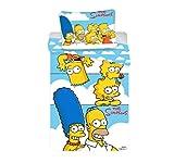 Jerry Fabrics 17BS140 Die Simpsons CharacterKinderBettwäsche mit ReißverschlussBettbezug 140 x 200 cm und Kissenbezug 70 x 90 cm, Baumwolle, Light Blue, 200 x 90 x 0.5 cm