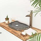 wohnfreuden Naturstein - Waschbecken 50-60 cm extra flach ✓ Schönes Waschbecken aus Stein für Ihr Bad Gäste WC