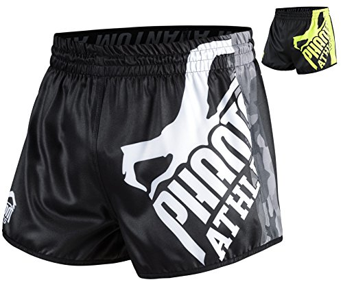 Phantom Athletics Fight Shorts Revolution - Fight MMA Muay Thai Athletic Fitness Shorts (Black/Camo, L) (Muay Thai Shorts Camo)