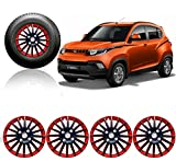 #9: Auto Pearl - Premium Quality Car Full Wheel Cover Caps Red and Black 14 Inches Press Type Fitting For - - Mahindra KUV 100