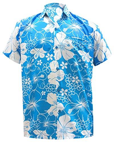 La Leela Strand Hawaiihemd Herren XS - 5XL Kurzarm Front-Tasche Hawaii-Print Casual Button Down Hemd Teal Blau 3XL 1737 (Kleid Mutter Braut Türkis Der)