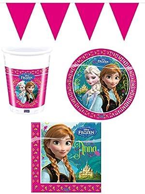 Folat - Juego de vajilla para fiesta de 37 piezas, con diseño de película Frozen de Disney (8 platos, 8 vasos, 20 servilletas, 1 guirnalda de banderines) de Folat