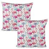 Bada Bing 2er Set Kissen Flamingo pink türkis weiß Deko Tropical Sommer Zierkissen 40