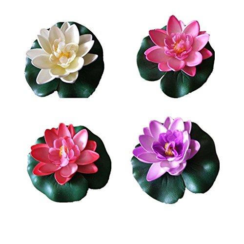 @ 10 pezzi di 4 pollici Floating Flower, impermeabile Fiore di loto per la cerimonia nuziale acquari decorazione confronta il prezzo