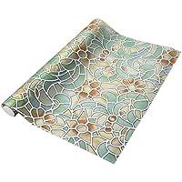 Wenquan,Extraible Cubierta de la pelicula Wallpaper Decoracion Ventana baño Showcase - Retro Flower Pattern(Color:Colormix,Size:45 X 200CM)