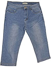 adc64b4e6a7b8 Pantacourt Femme Jeans Grande Taille 5 Poches Taille Haute Extensible  Confortable