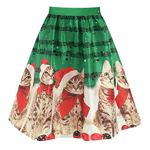 (Frauen Weihnachten Rock Cat Drucken Elegant Flare Weinlese Hohe Taille Tee Dress Ballkleid A-Line Swing Rock Partyabend Cocktail Skirt Damen Partykleider)