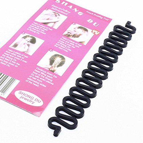 ANKKO Mujeres chicas Moda Francesa pelo trenzado herramienta trenzadora rodillo con Magic Twist estilo fabricante (Negro)