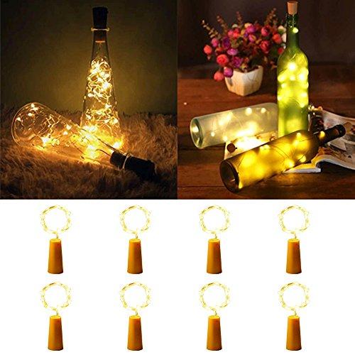 t Weinflasche Mini-Lichterkette, Kupferdraht String Lights, Kupferdraht Flaschenbeleuchtung für DIY Weihnachten Hochzeit Party Indoor Outdoor Dekoration 8 Pack (warmweiß) (Outdoor-halloween-dekoration)